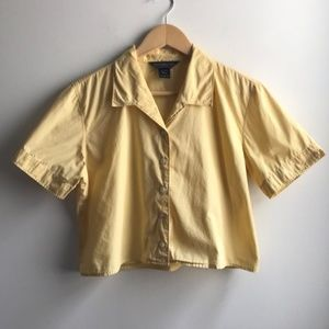 Vintage Abercrombie & Fitch yellow crop tee shirt